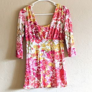 CAbi Floral Ruched Top